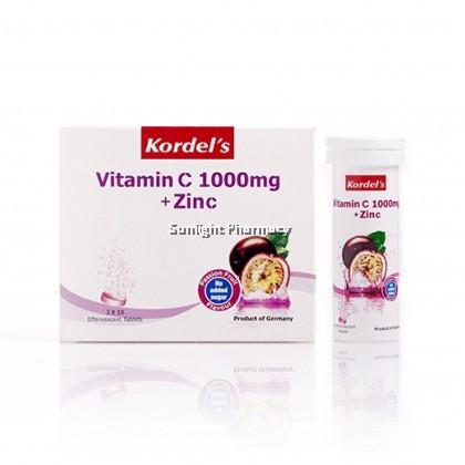 Kordel'S Vit C 1000Mg + Zinc 3 X 10'S Effervescent Tablets (Passion Fruit )