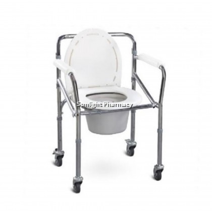 Ezylife Commode Chair With Lid And Wheel FS696